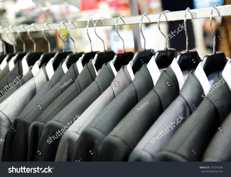 Row Mens Suits Hanging Closet Stock Photo 107374244