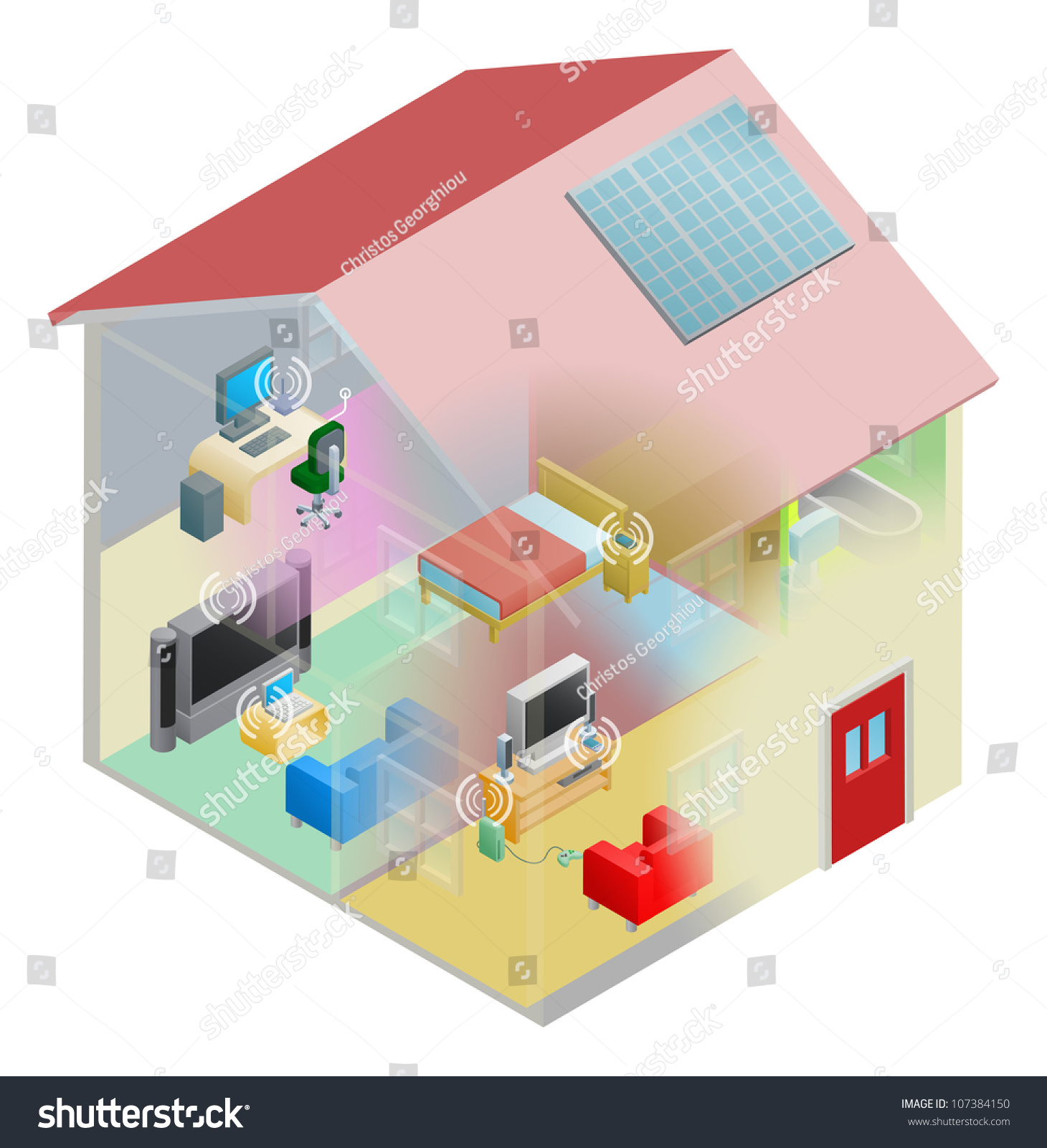 home internet network wireless computing devices stock vector a home internet network wireless and computing devices connected in a home group local area