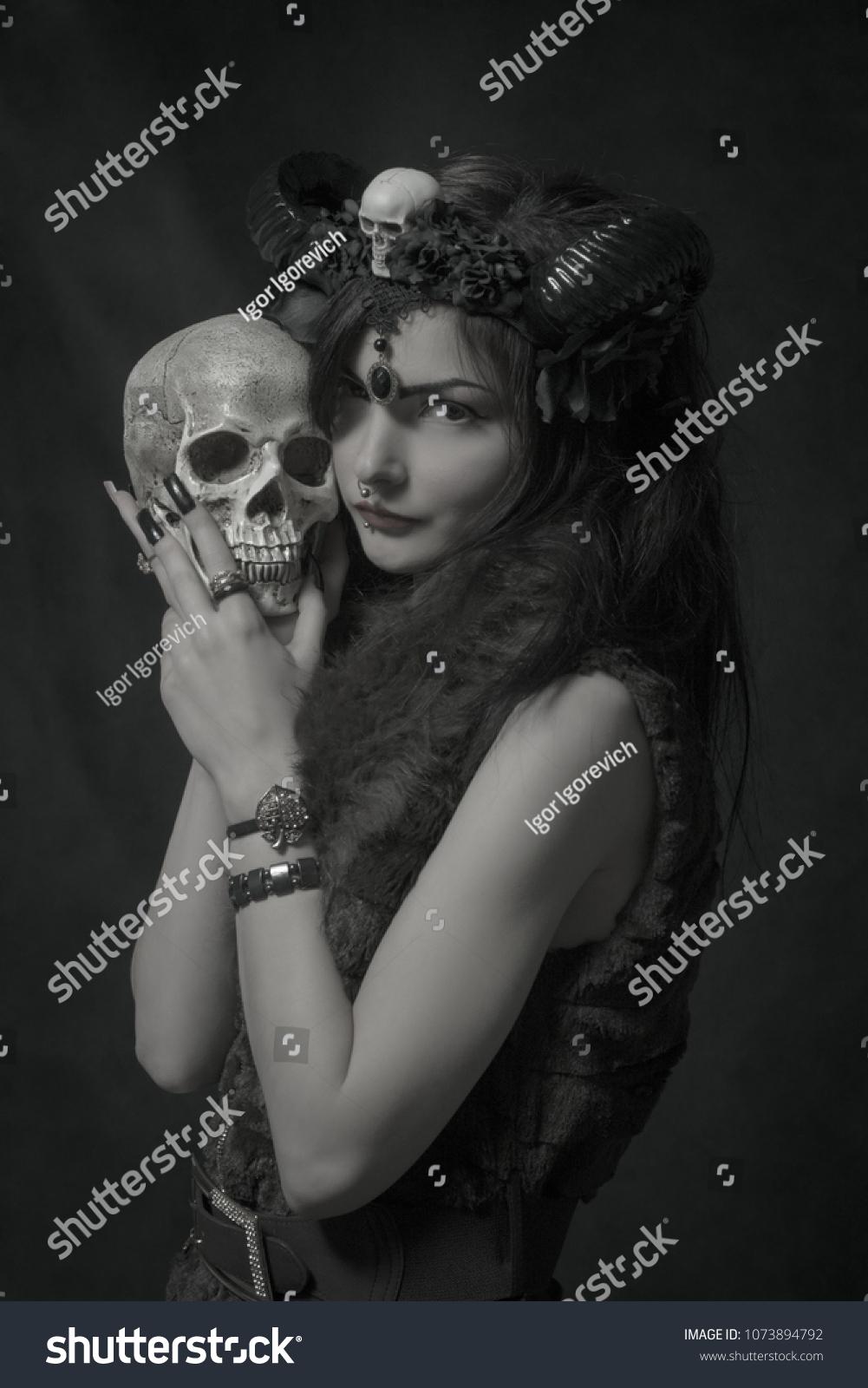 Cute Horned Asian Girl Holding Skull Stock Photo Edit Now Bra Sport Kemben 8736 Over Dark Background