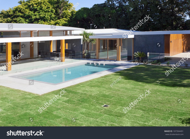 modern backyard swimming pool australian mansion stock photo