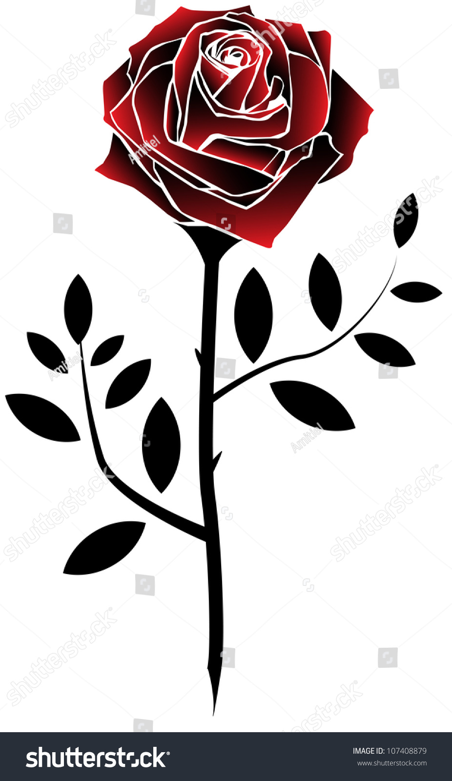 Red Rose Tattoo Style Stock Vector Royalty Free 107408879