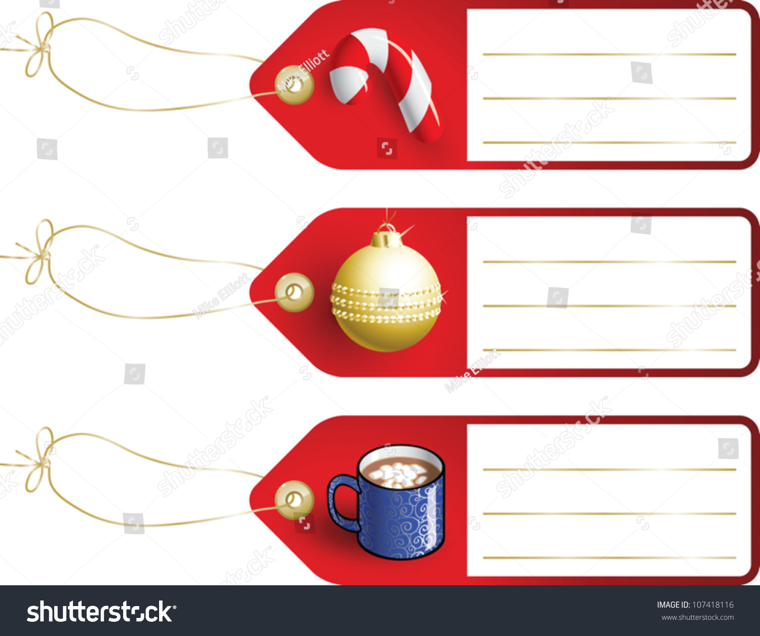 Realistic Cartoon Illustration Of Blank Christmas Gift Tags With ...