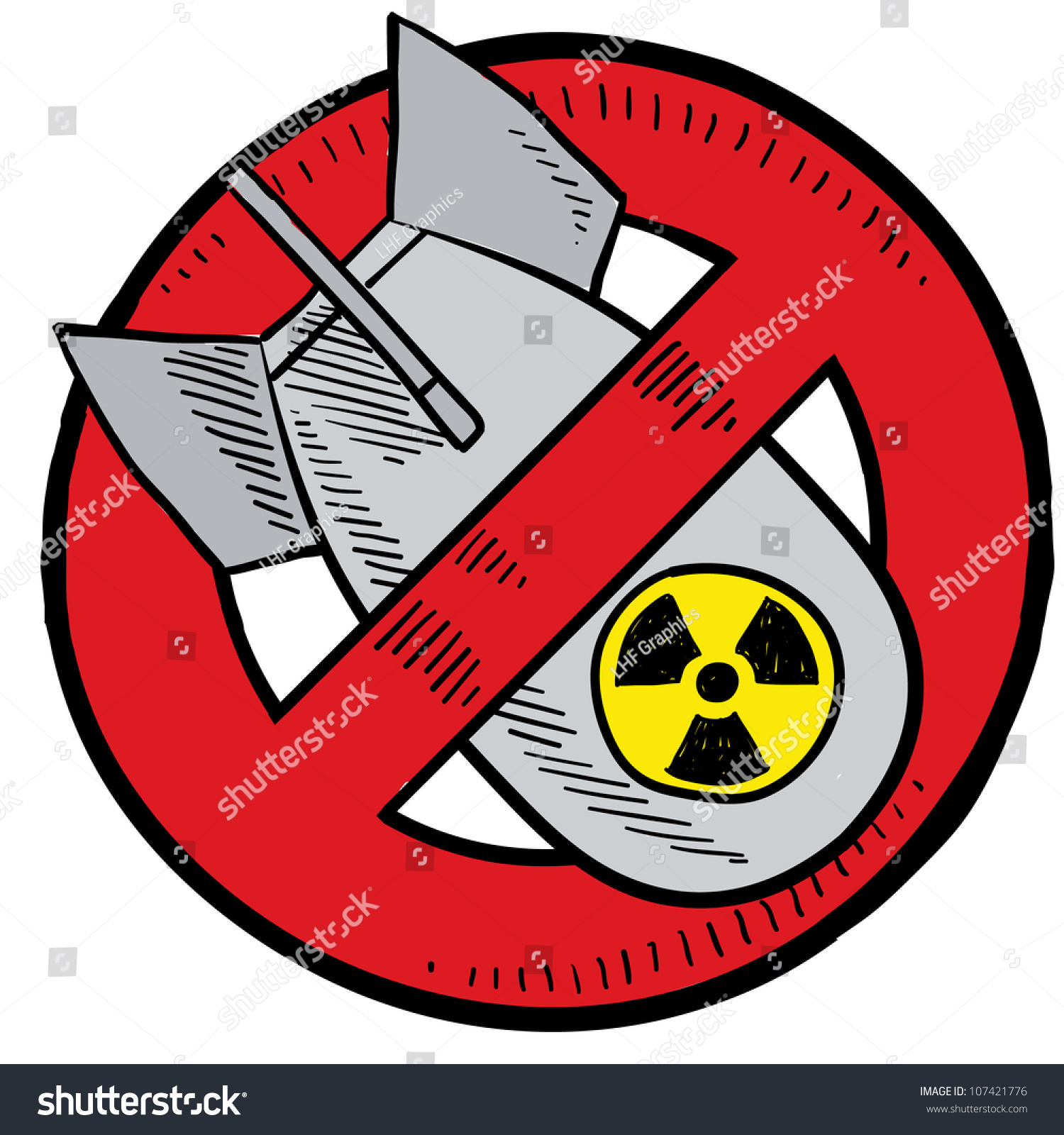 Doodle Style Antinuclear Symbol Showing Nuclear Stock Vector Hd