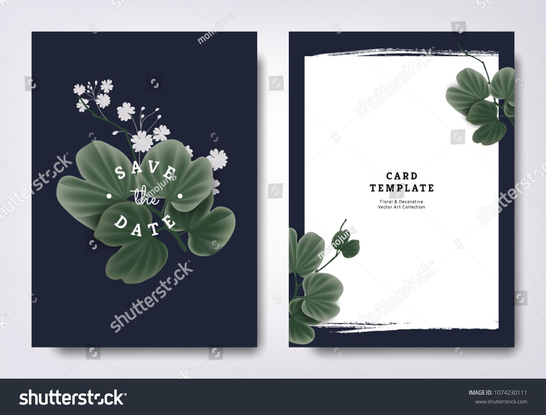Botanical Wedding Invitation Card Template Design Stock Vector ...