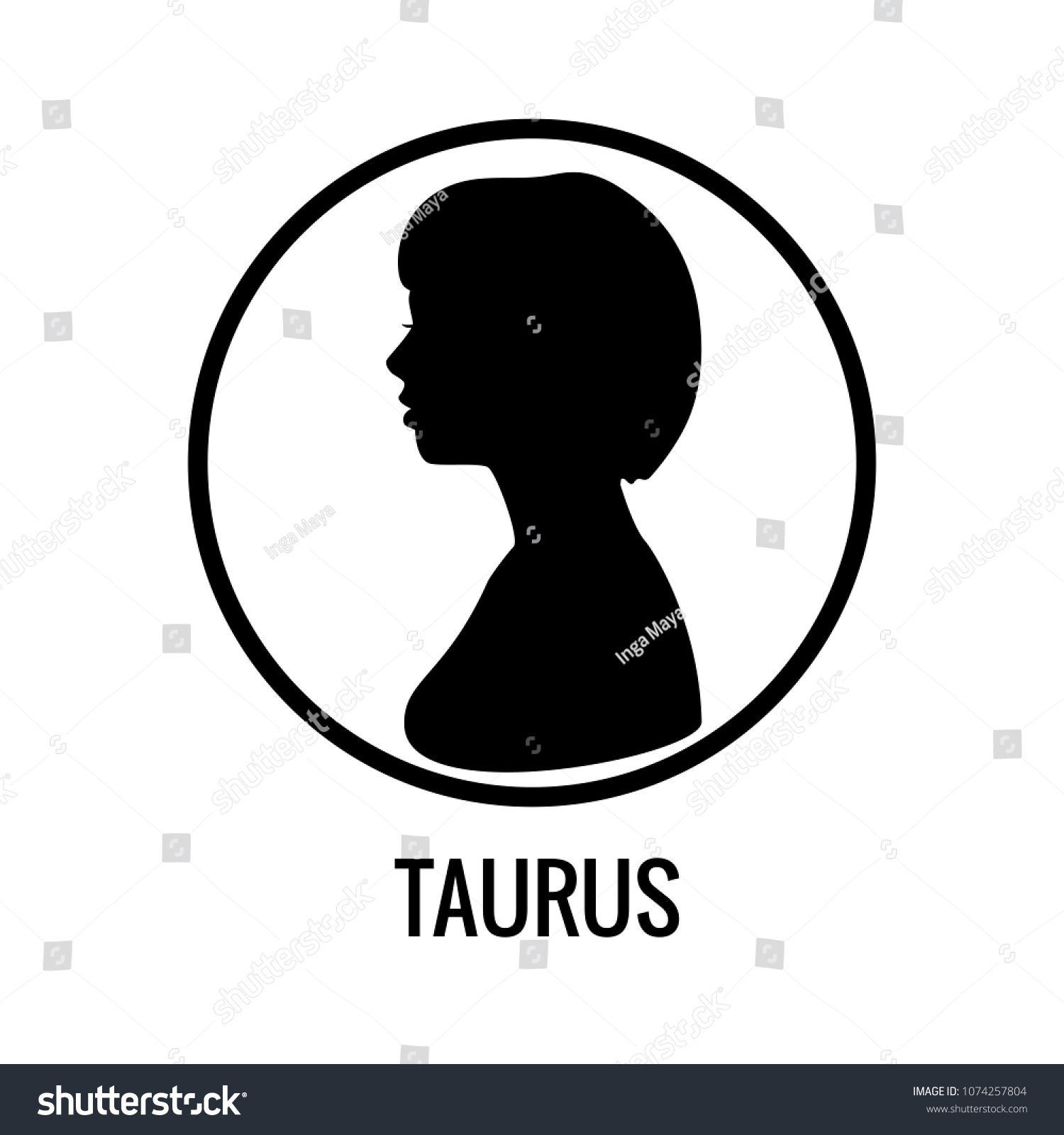 Zodiac Signs Taurus Black Silhouettes Girl Stock Vector 1074257804