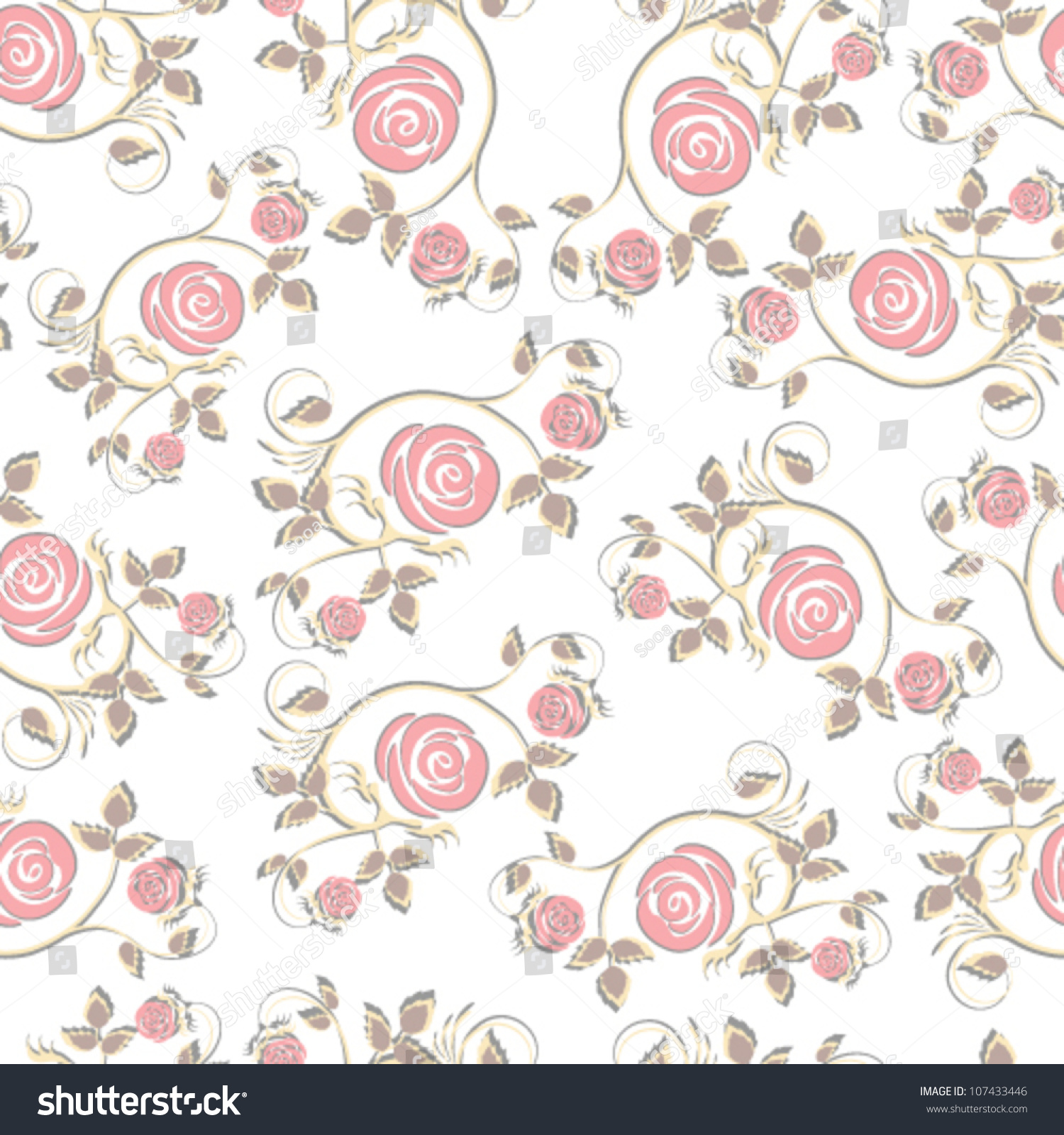 Rose floral pattern wallpaper