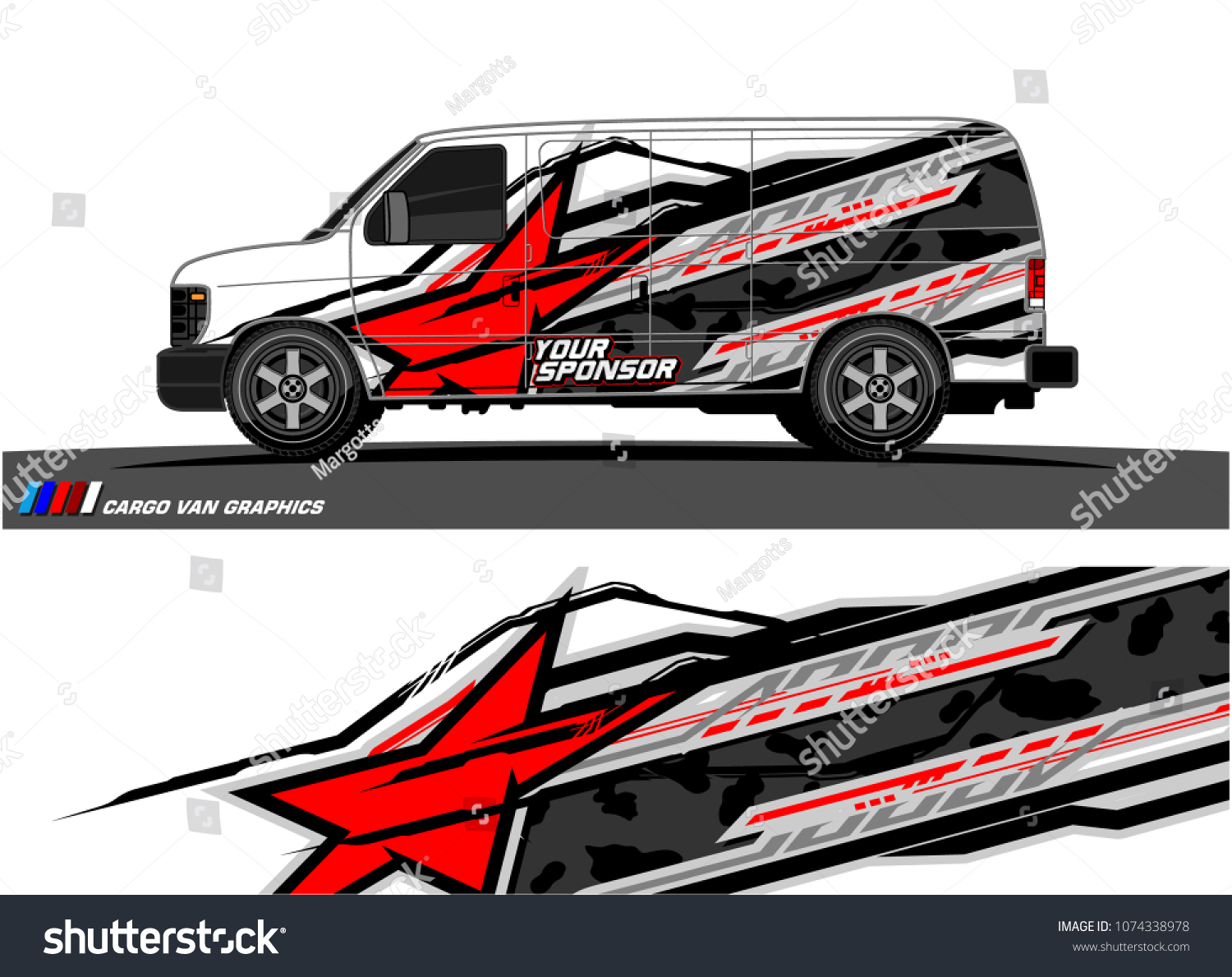 Cargo van graphic abstract racing shape with modern camouflage design for vehicle vinyl wrap