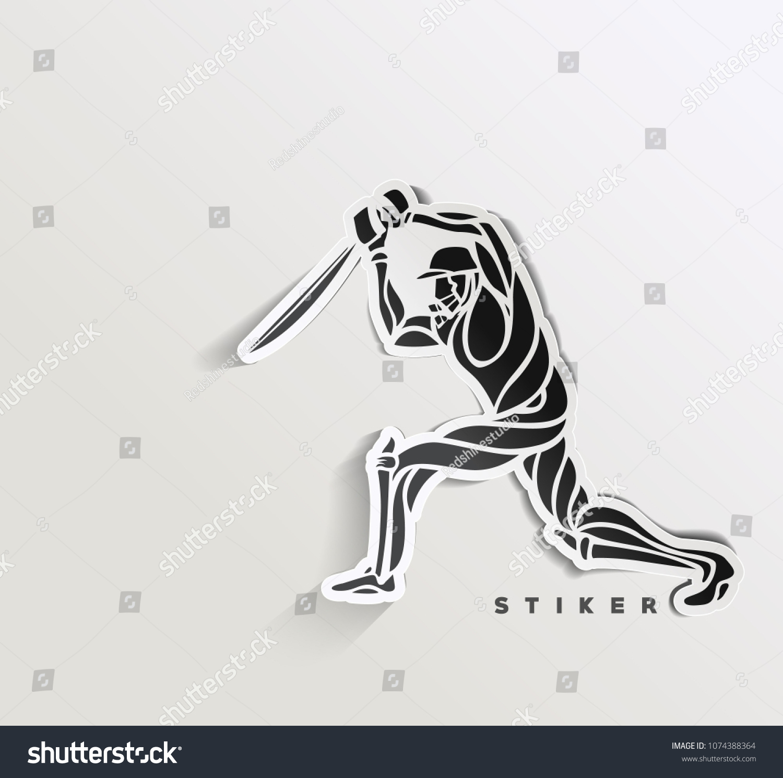 Concept of batsman playing cricket championship sticker vector illustration