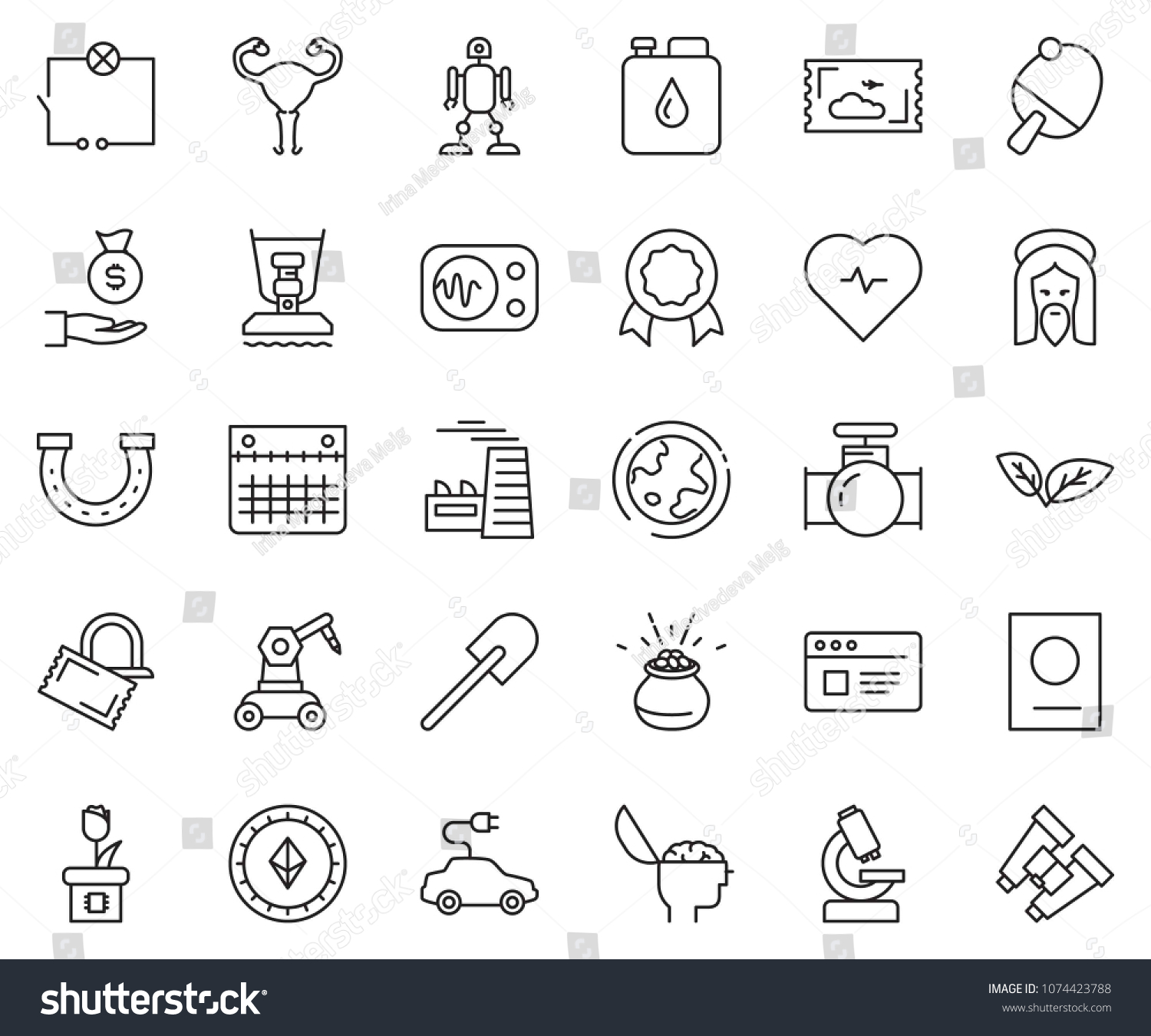 thin line icon set - brain vector, factory, etherium sign, investment,  wiring