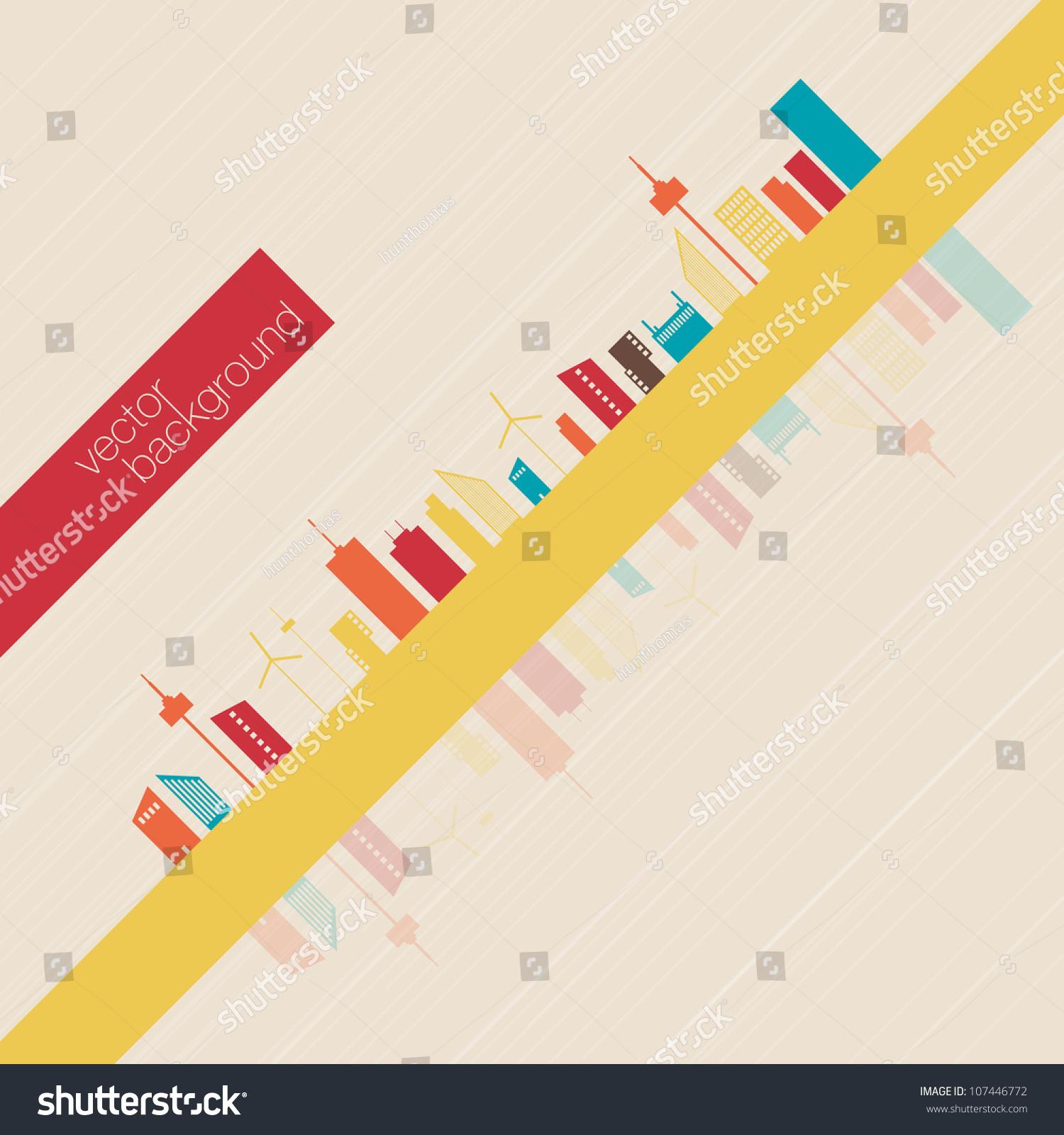 Colorful Minimalist Design: Minimalist Colorful Panorama City Background