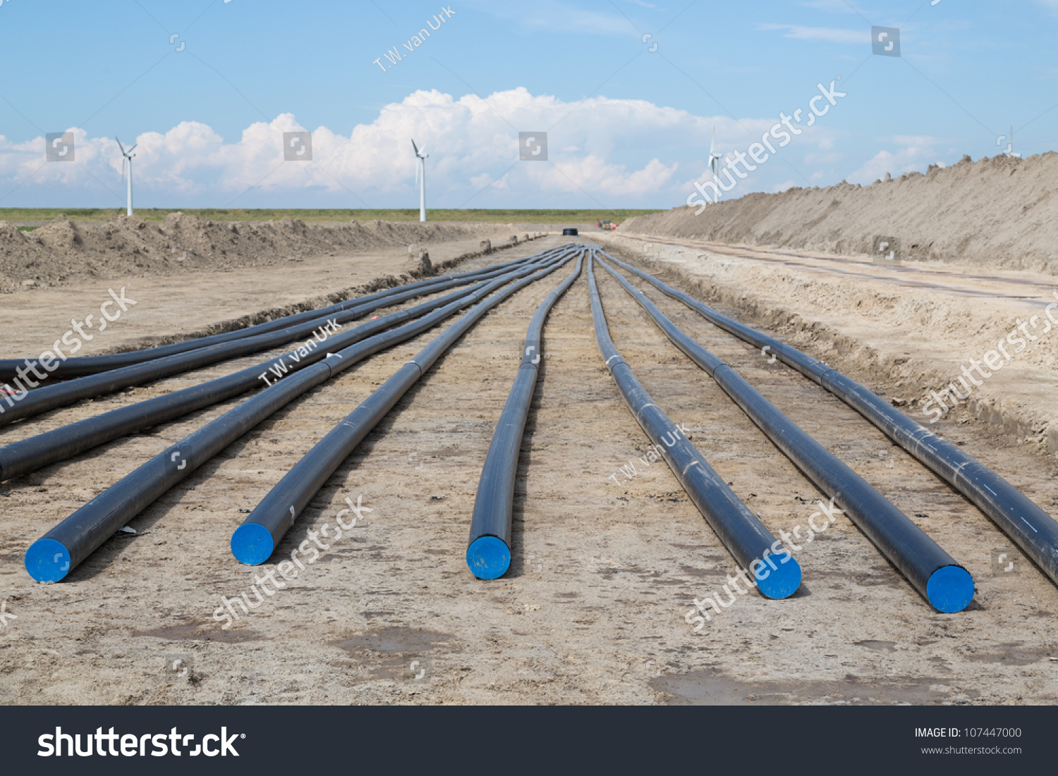 Digging Big Electricity Cable Trench Stock Photo Edit Now Agricultural Structures Of A For New Wind Farm In The Netherlands