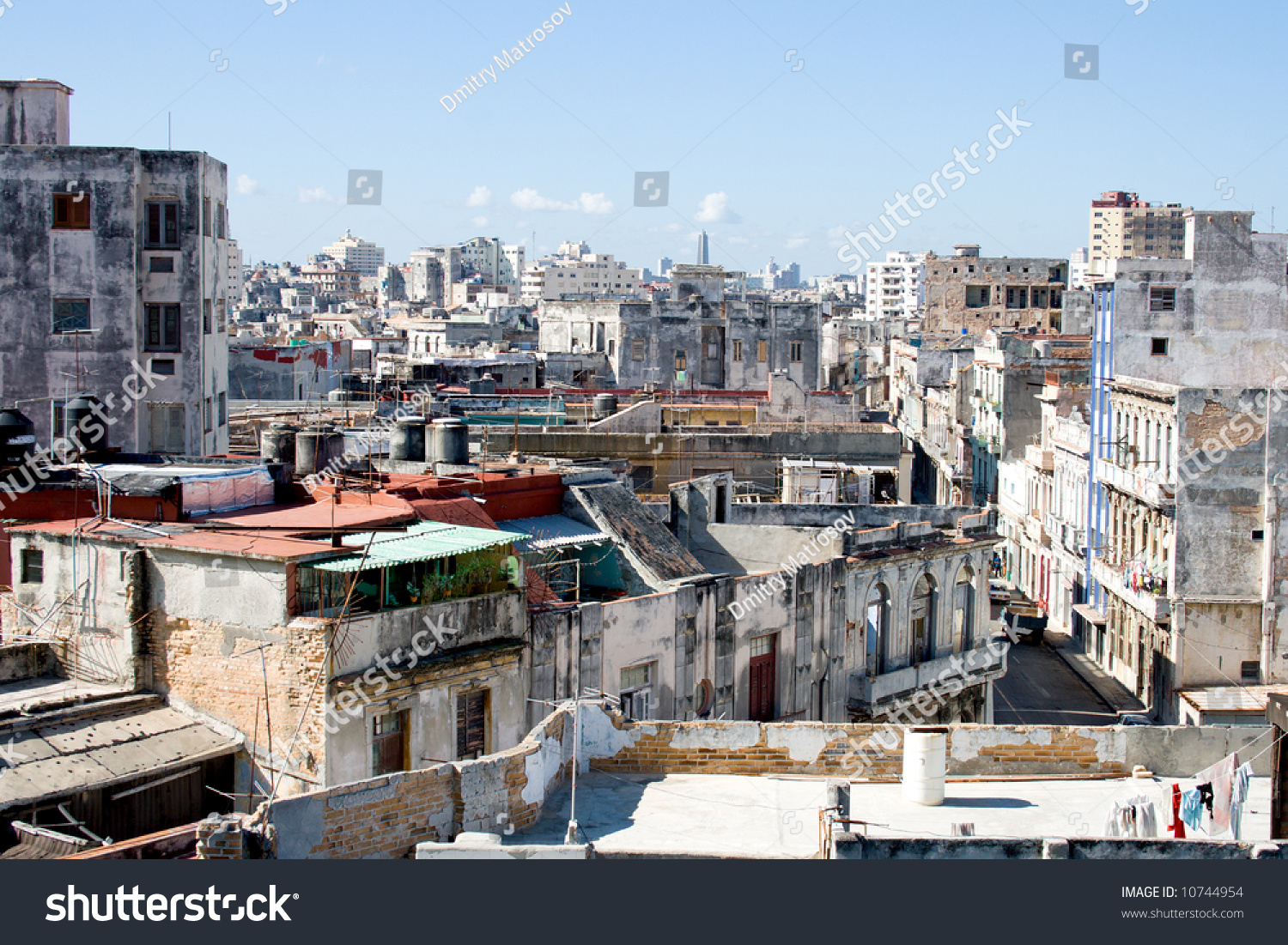 Different Old Buildings Slum Block Southern Stock Photo