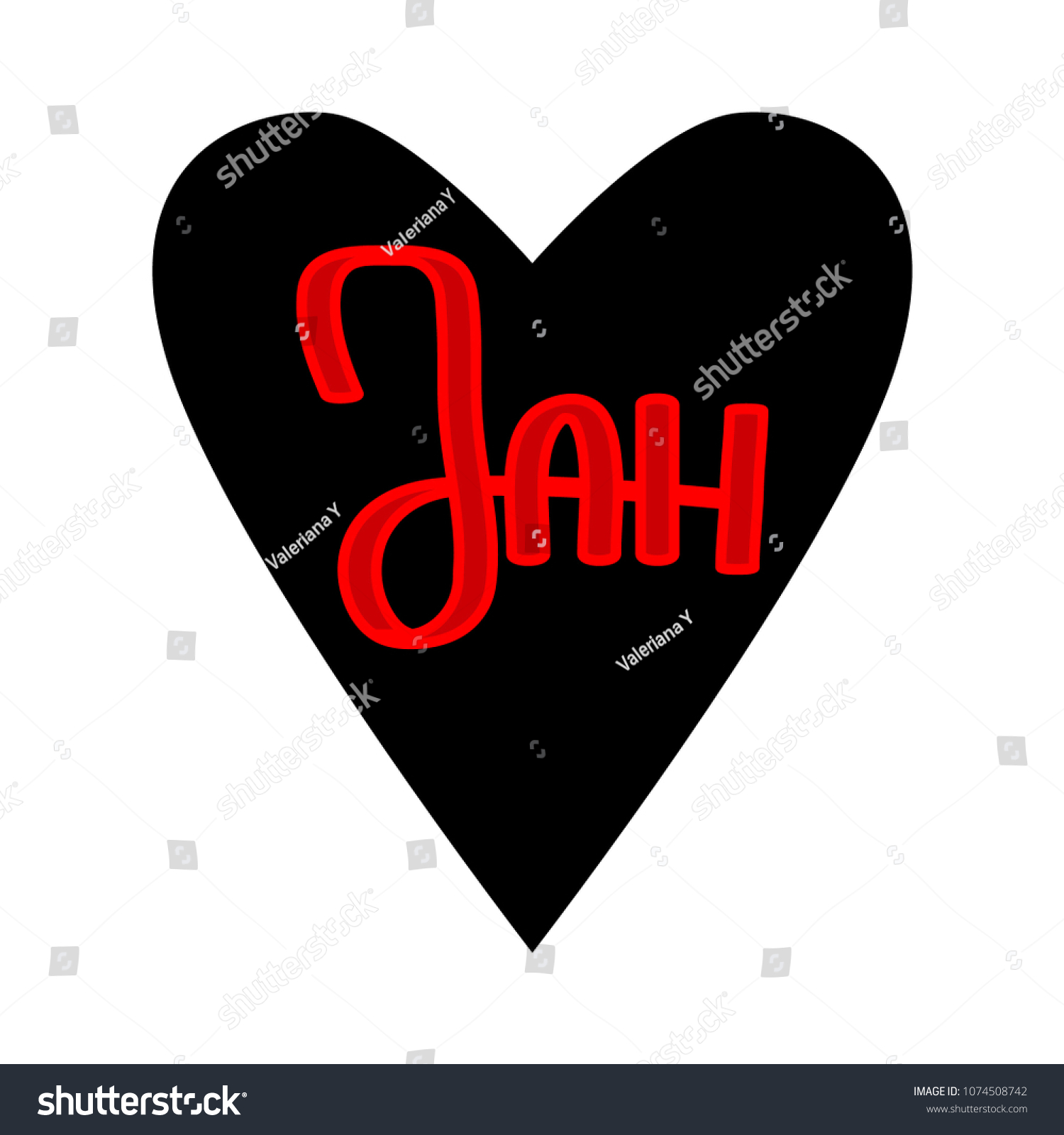 Black Vector Heart Word Jah On Stock Vector Royalty Free
