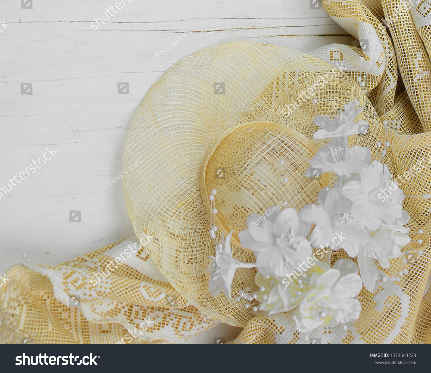 Straw Bonnet White Ivory Silk Flowers Stock Photo Edit Now