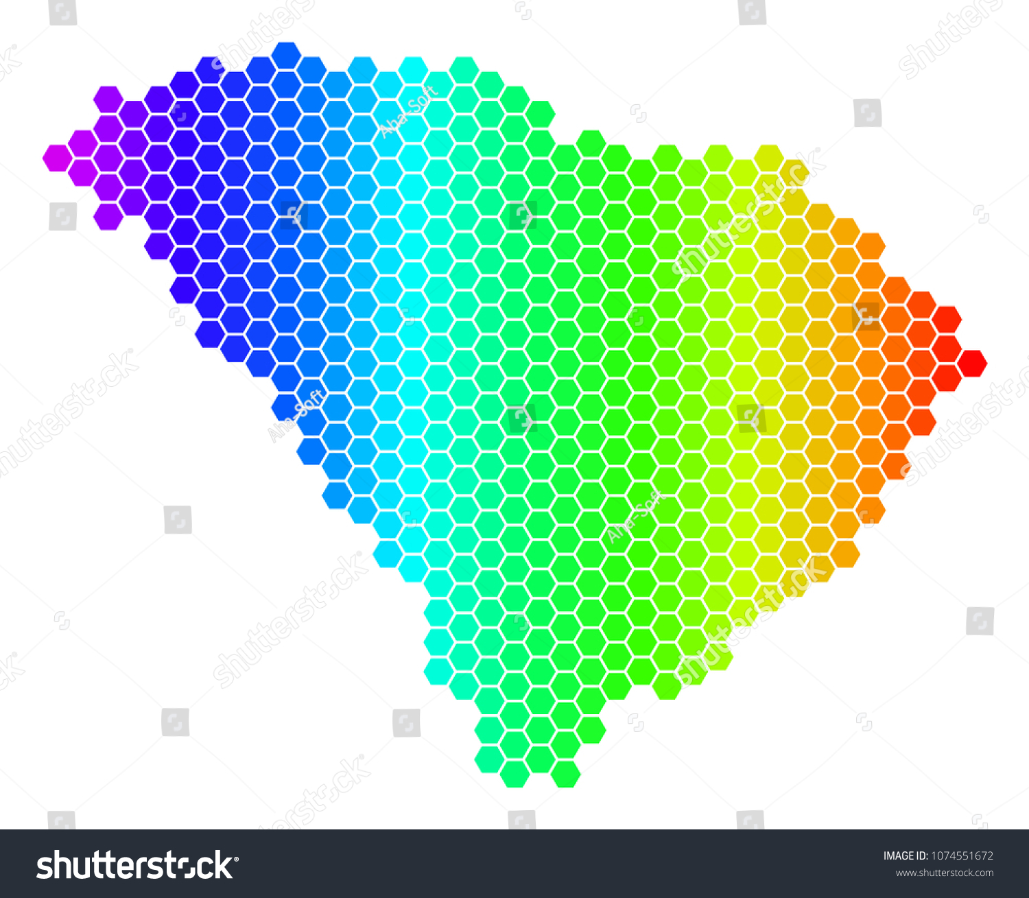 Hexagon Spectrum South Carolina State Map Stock Vector (Royalty Free ...