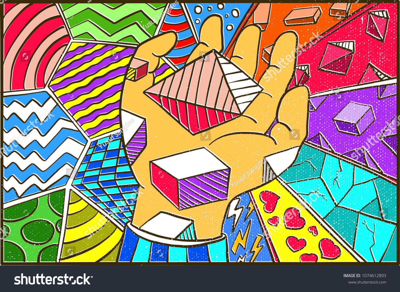 Hand Drawn Pop Art Wallpaper Background Stock Vector Royalty Free