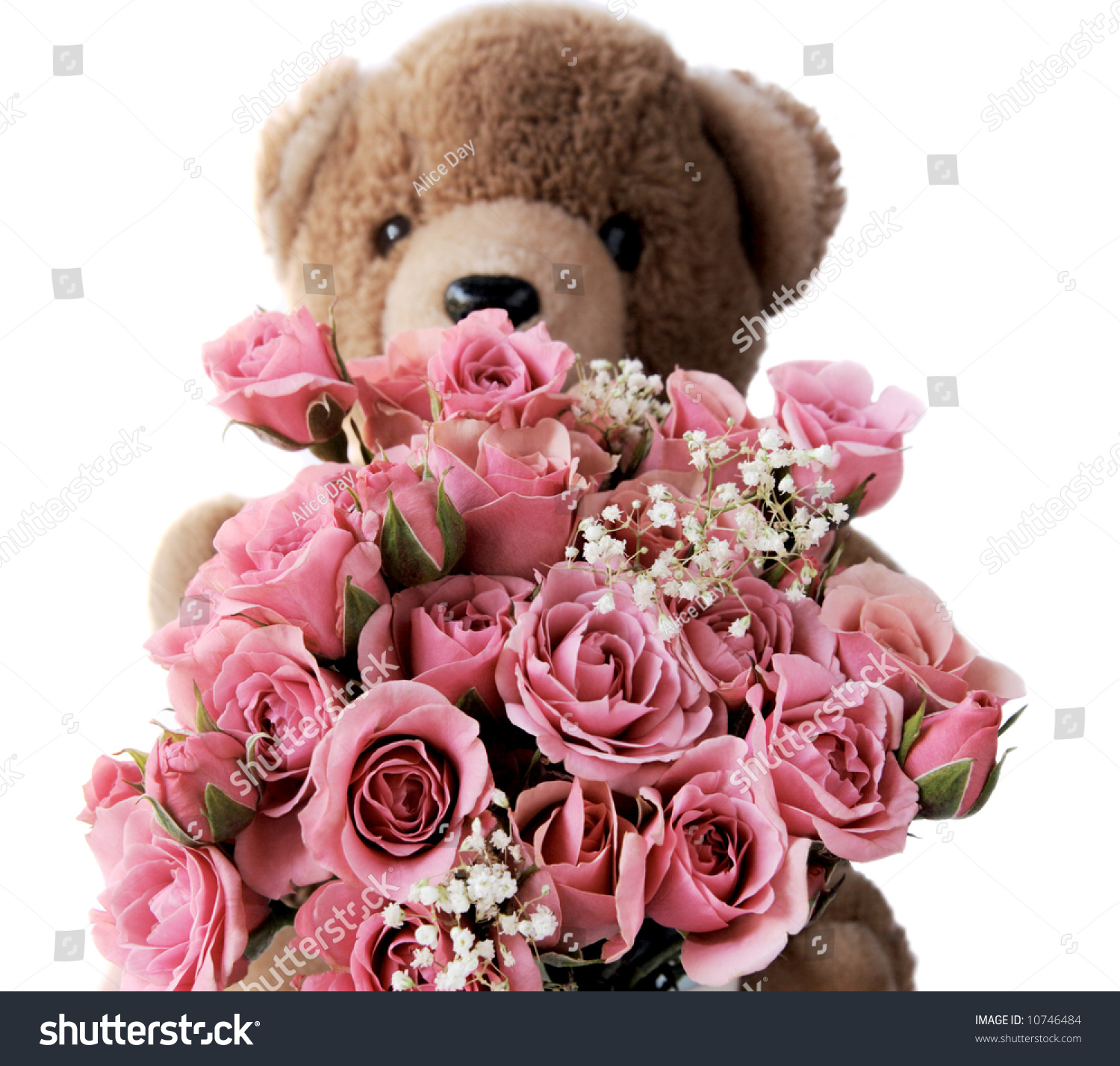 Teddy bear with pink roses - photo#15