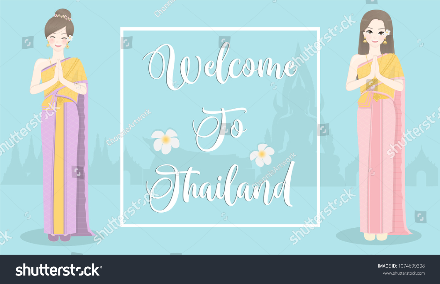 Welcome Thailand Thai Women Wearing Traditional Stock Vector