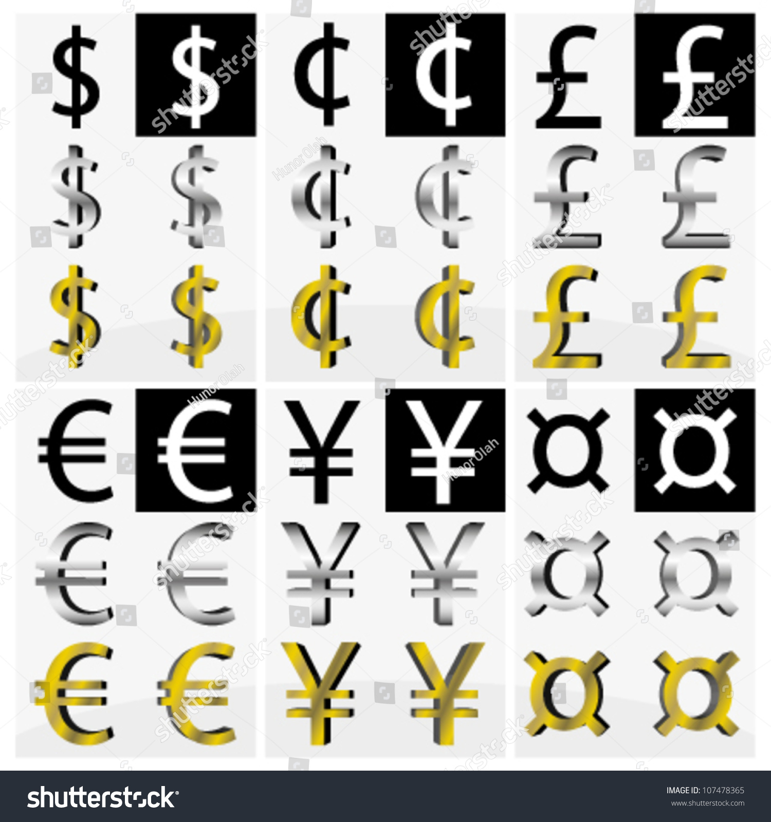 Collection different currency symbols black white stock vector collection of different currency symbols in black and white silver and gold color buycottarizona