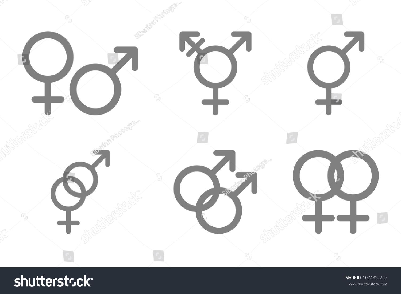 Gender glyphs. Male, female, heterosexual, bisexual, homosexual, gay,  lesbian
