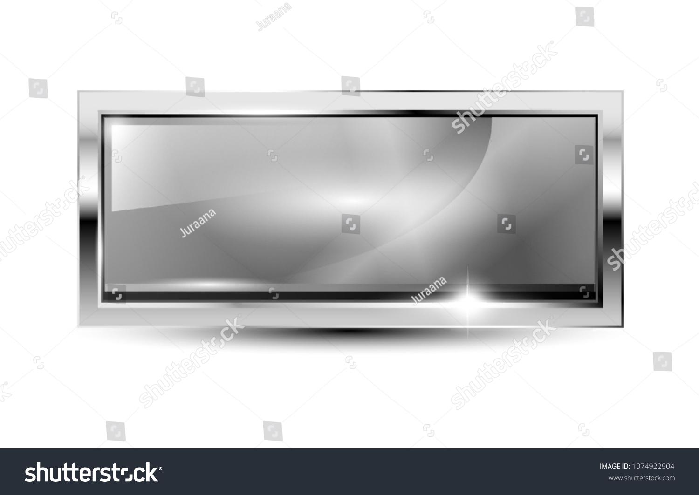 Grey Rectangular Background Silver Frame Space Stock Vector (Royalty ...