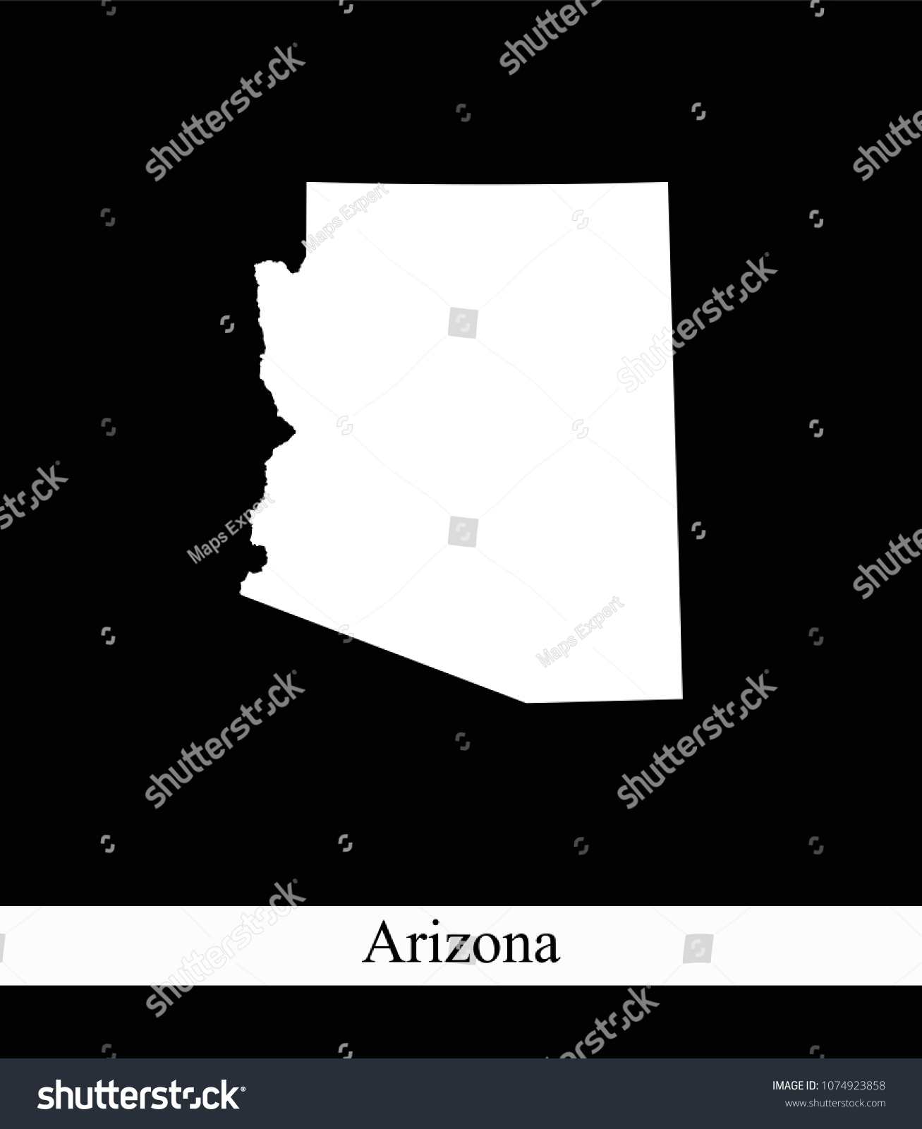 Arizona State USA Map Vector Outline Stock Vector (Royalty Free ...