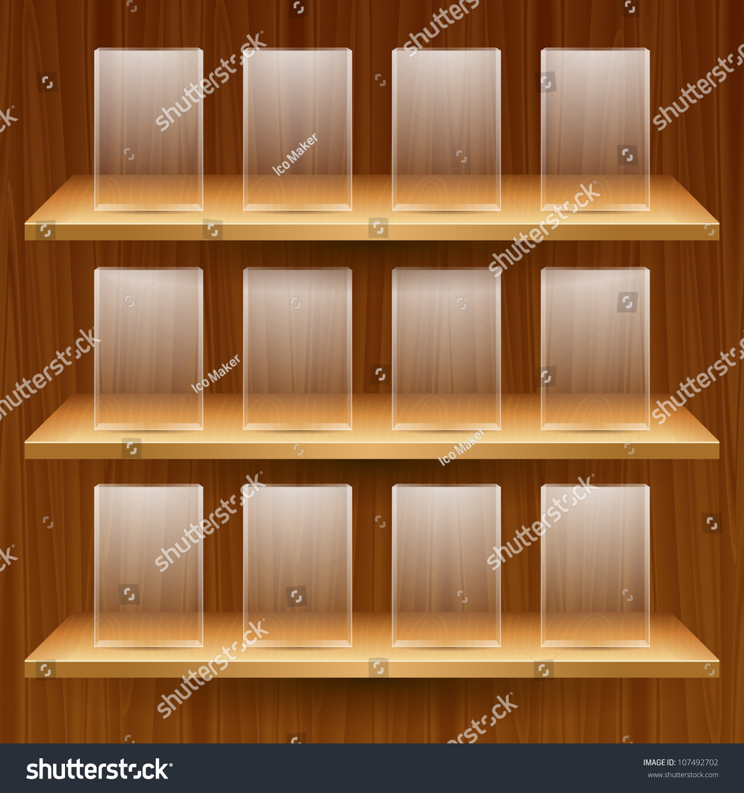 Interior wooden shelves free vector - Vector Wooden Shelves With Empty Glass Boxes