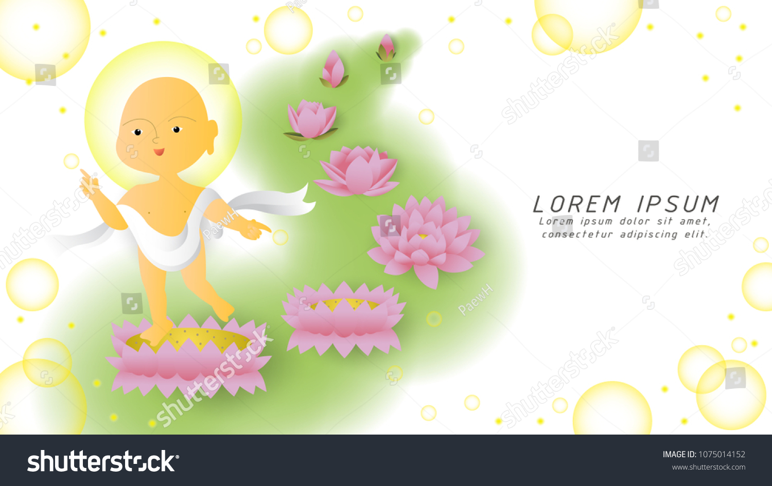 Baby Buddha Steps On Lotus Flower Stock Vector Royalty Free