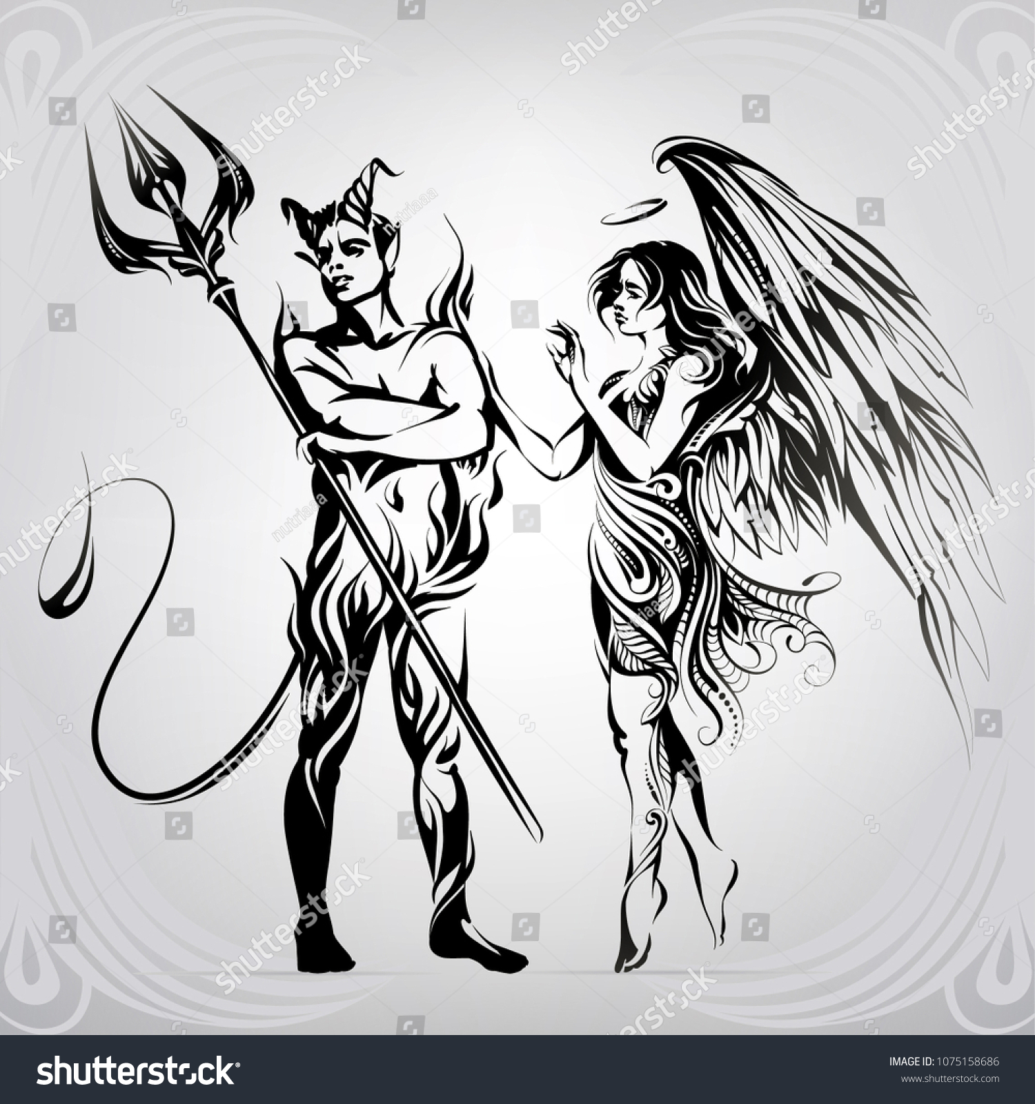 Angel and demon in ornament