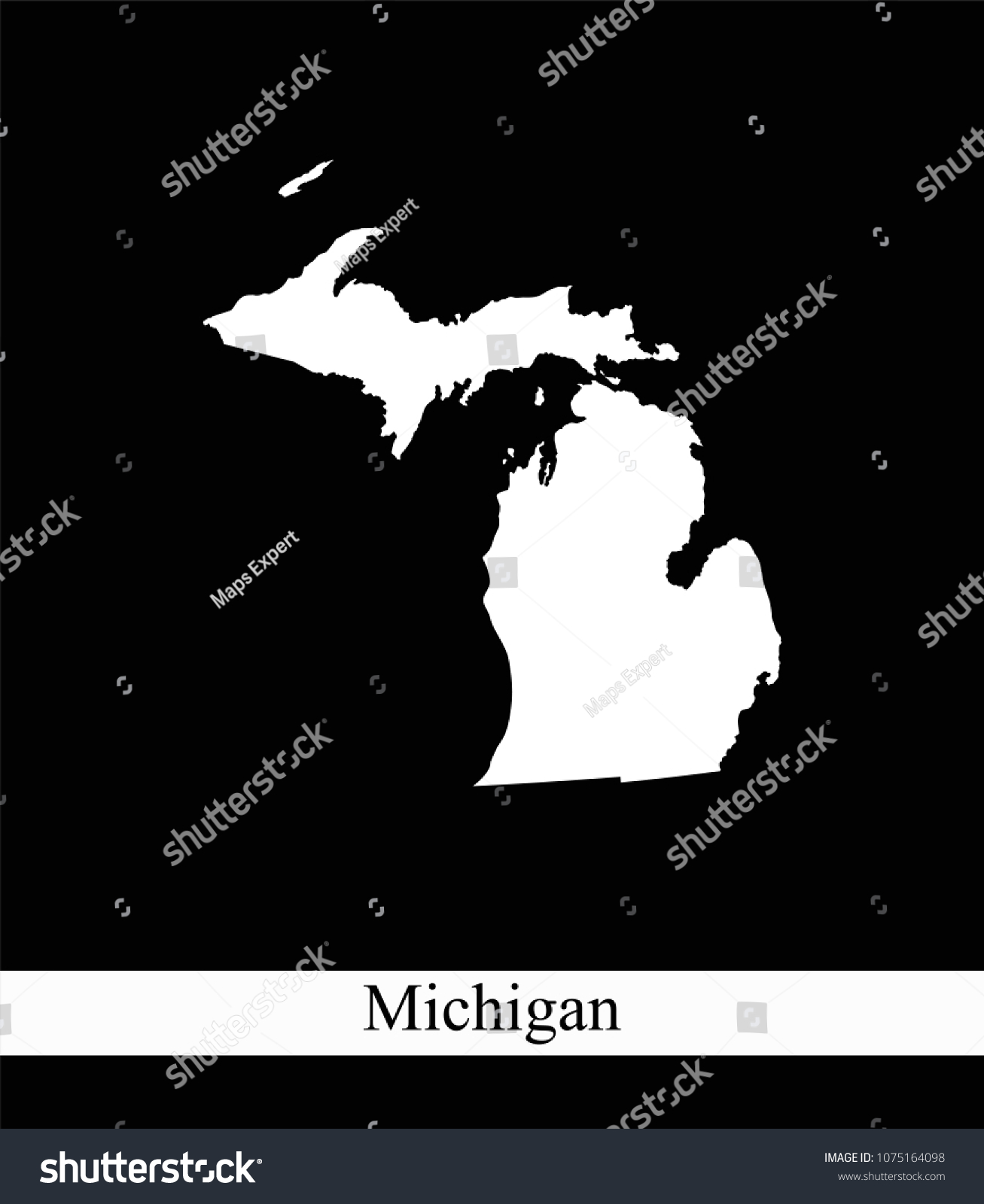 Michigan State USA Map Vector Outline Stock Vector (Royalty Free ...