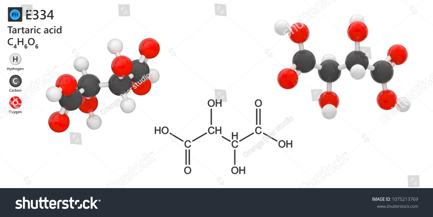 Food Additive E334 Acid Tartaric Acid Stock Illustration 1075213769