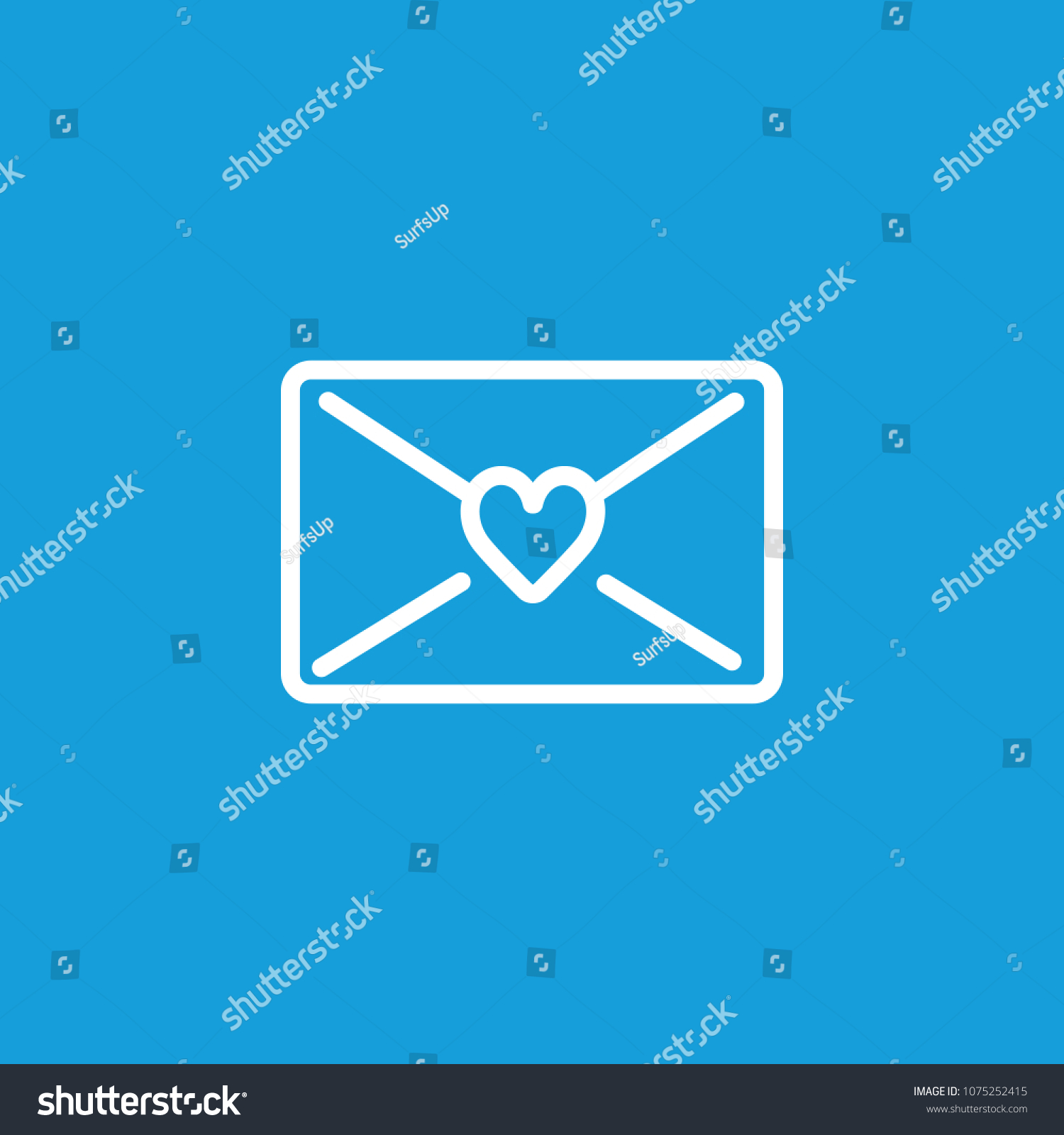 Line Icon Letter Sealed Heart Love Stock Vector Royalty Free