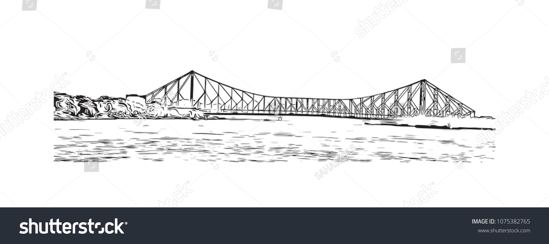Howrah bridge of kolkata city in west bengal india hand drawn sketch illustration