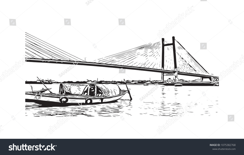 Vidyasagar setu bridge kolkata city west stock vector