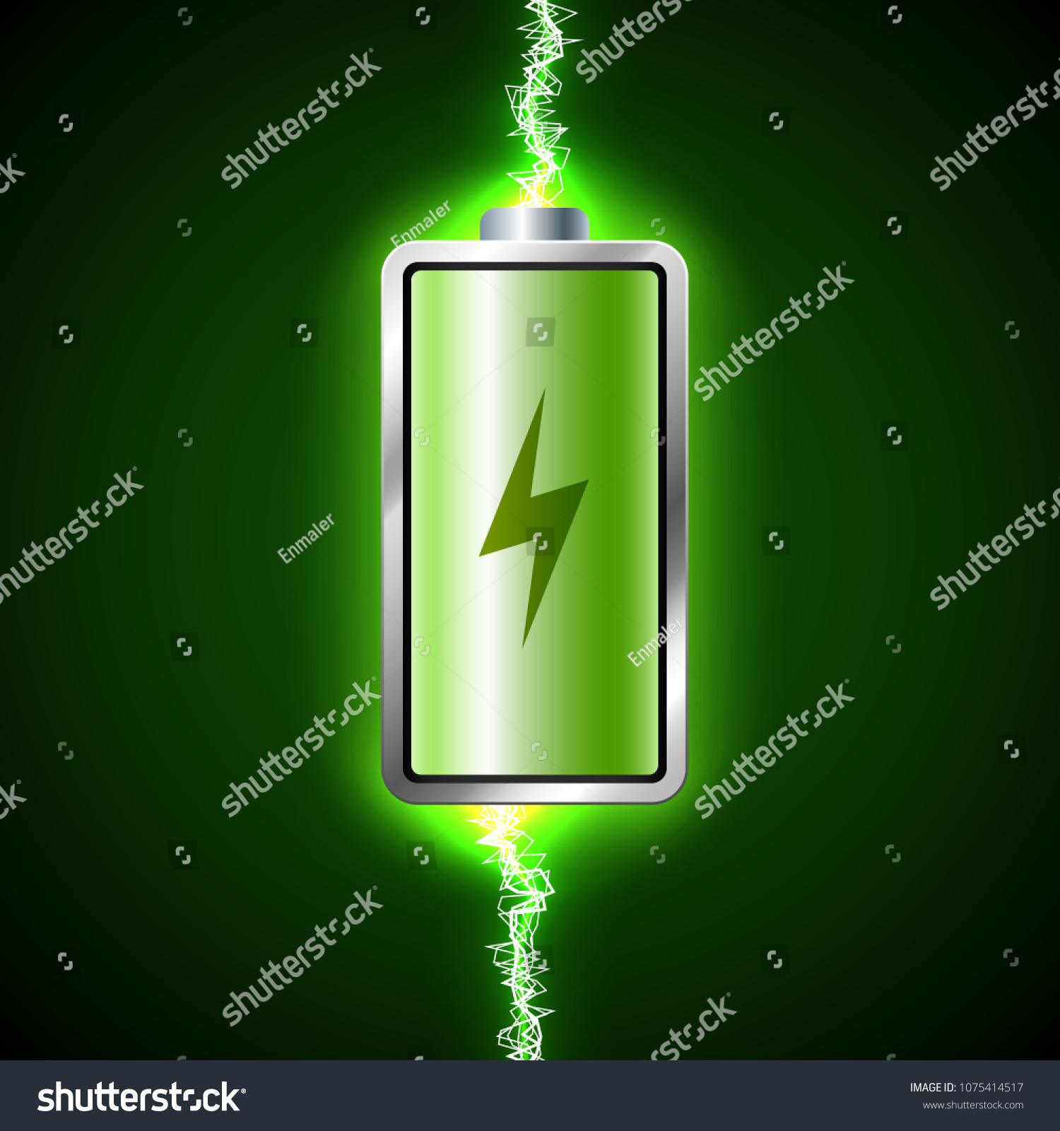 Fully Charged Green Battery Short Circuit Stock Illustration All In A What Makes Power How And Concept Of Energy