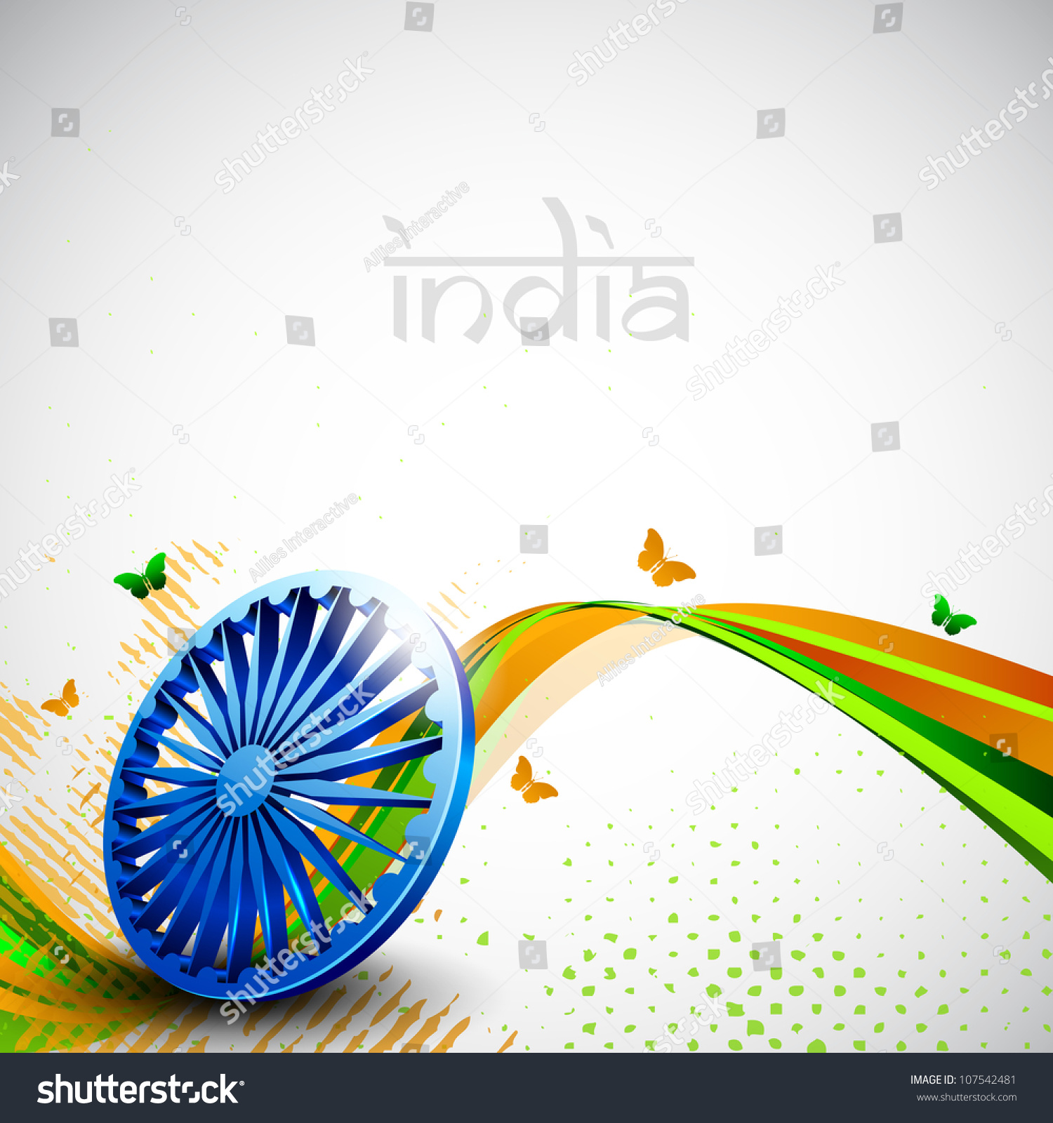 Colors website ashoka - Indian Flag Color Creative Wave Background With 3d Asoka Wheel And Butterflies Eps 10