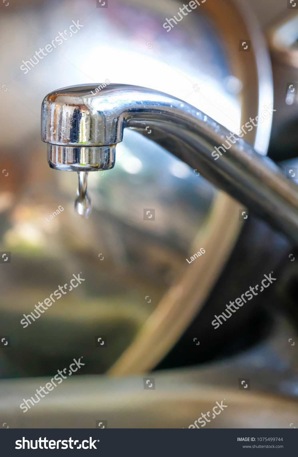 View Dripping Kitchen Faucet Steel Bowl Stock Photo (Edit ...