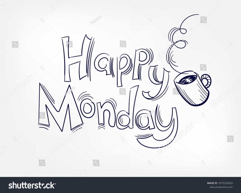Happy monday vector coffee illustration lettering stock vector hd happy monday vector coffee illustration lettering voltagebd Gallery