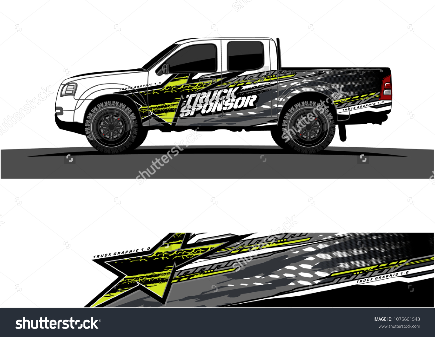 Pickup truck graphic vector abstract star shape with modern camouflage design for vehicle vinyl wrap