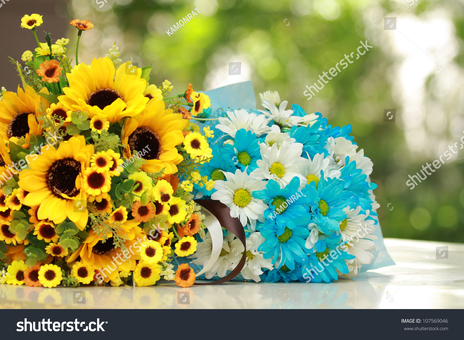 Beautiful Bouquet Bright Yellow Blue Flowers Stock Photo (Download ...
