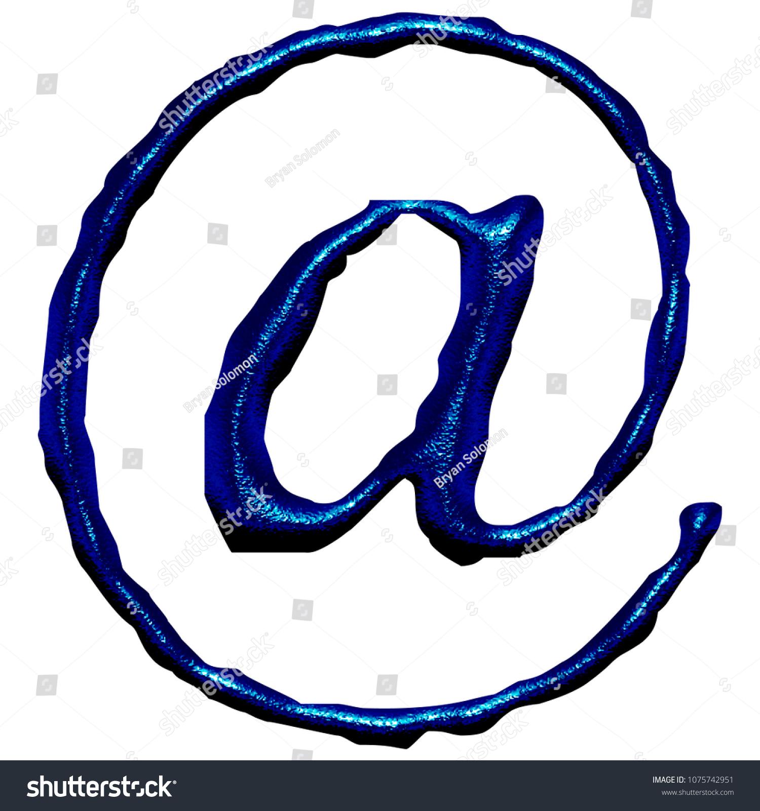 Blue Metal Sign Email Address Symbol Stock Illustration Royalty