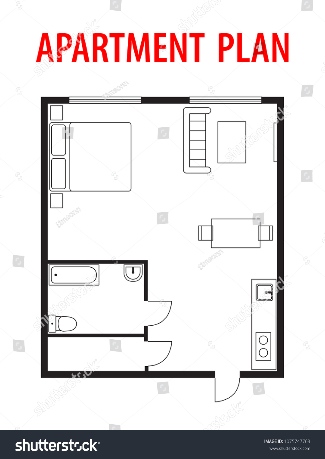 Plan Architectural Project Blueprint Apartment Studio Stock Vector Royalty Free 1075747763
