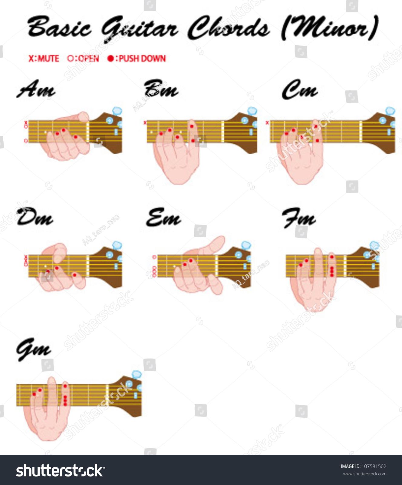 Basic guitar chords minor stock vector 107581502 shutterstock basic guitar chords minor hexwebz Image collections