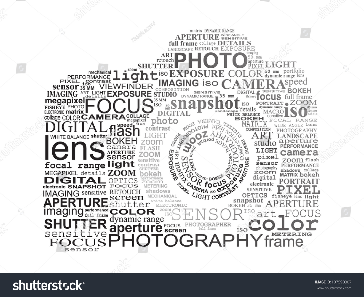Typographic Slr Camera Photography Concept Stock Vector Royalty Diagram