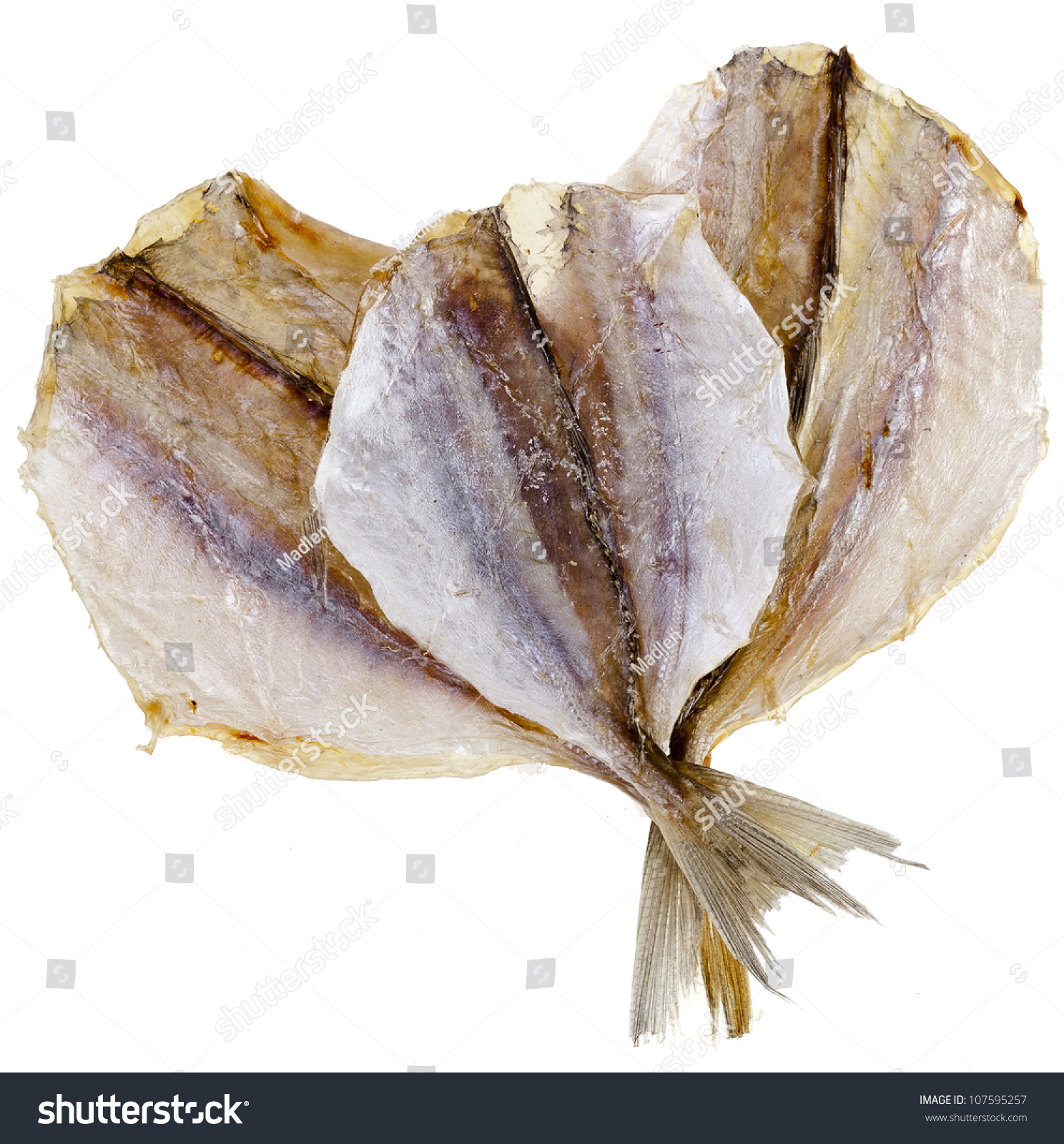 Dried Yellow Stripe Trevally Fish Isolated Stock Photo (Royalty Free ... for Dried Fish Clipart Black And White  55nar