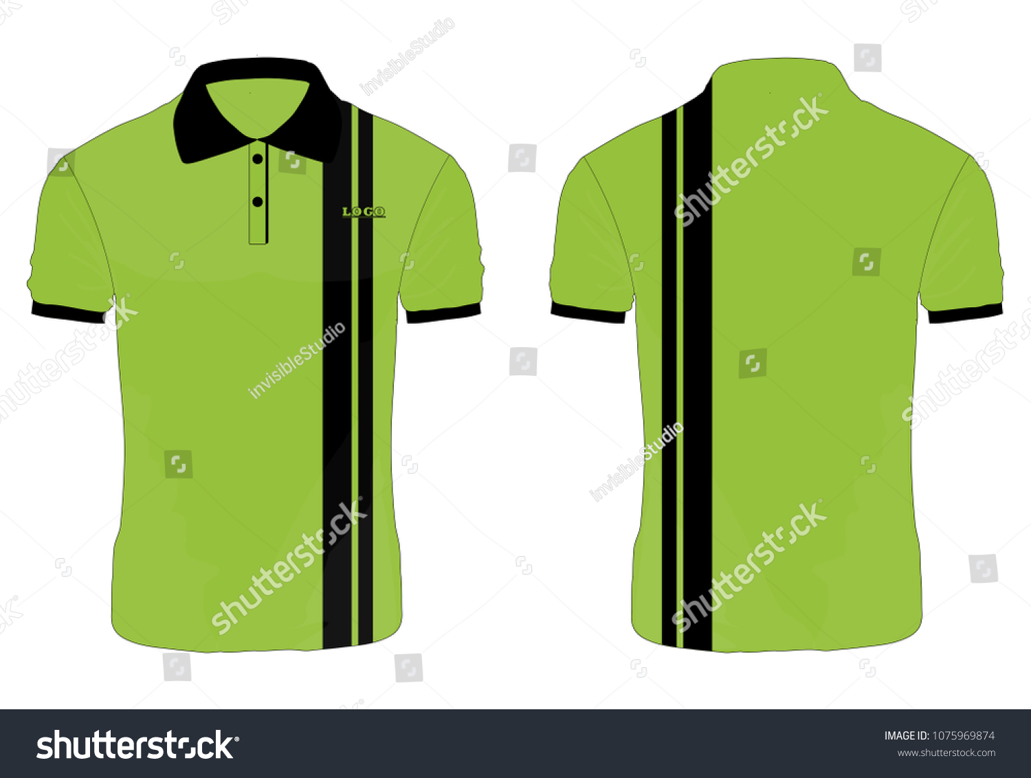 T-shirt Polo green and black template for design on white background.  Vector illustration eps 10.green Polo shirt 010fefd26f14