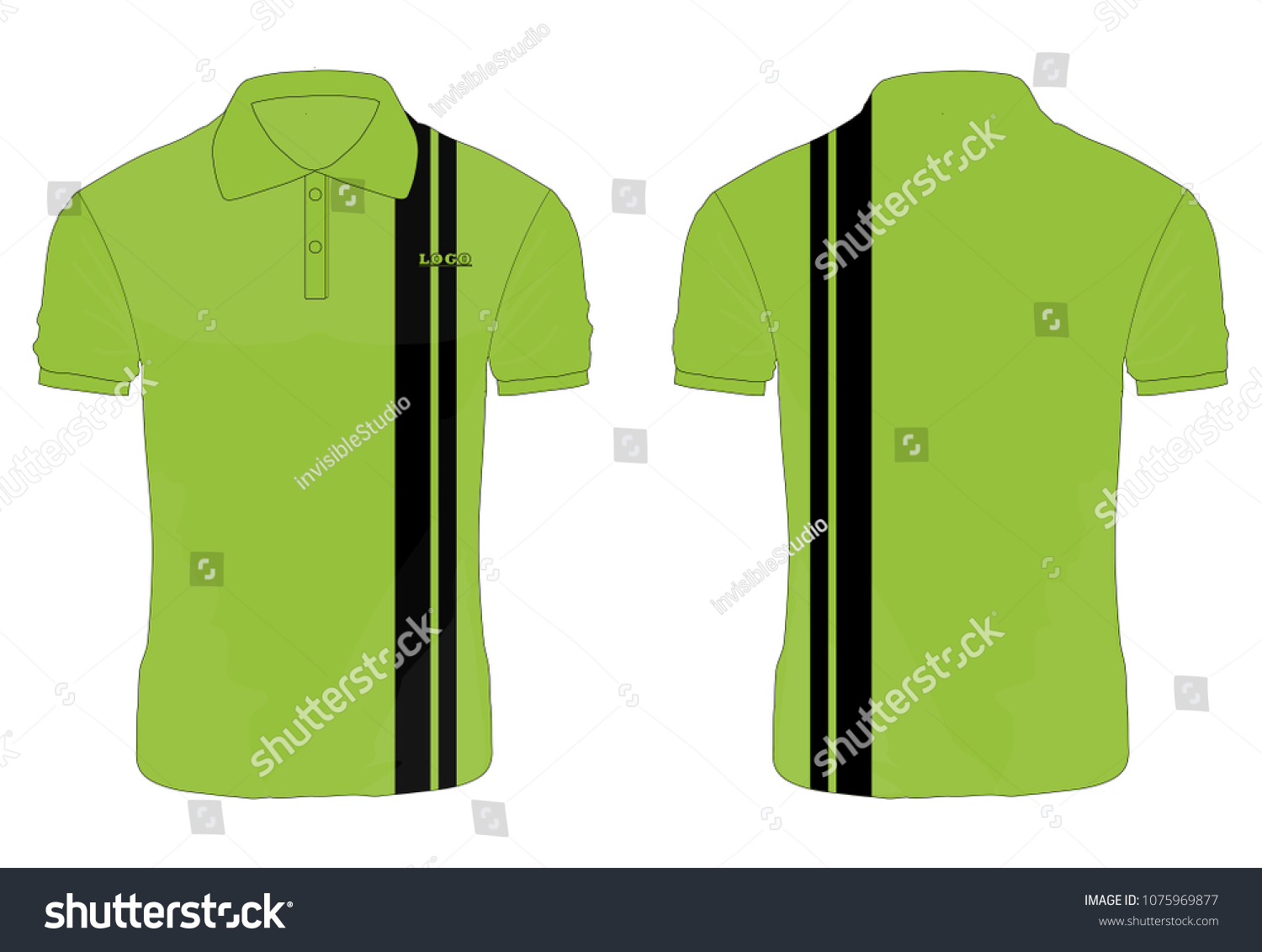 Tshirt Polo Green Black Template Design Stock Vector Royalty Free