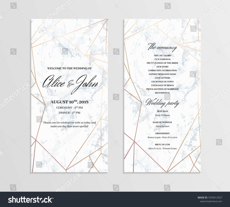doublesided wedding program template geometric design stock vector