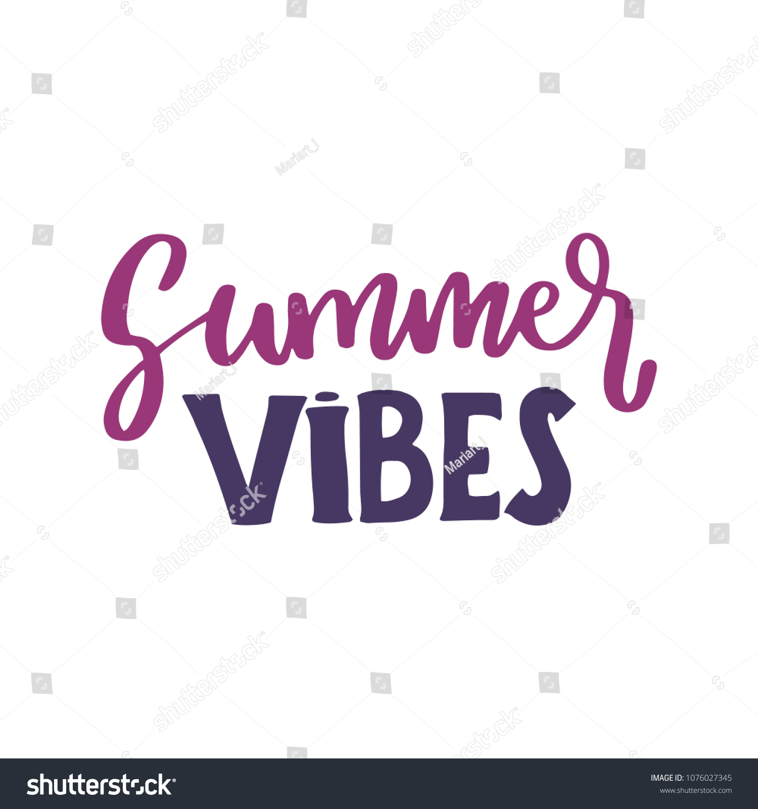 Summer Vibes Lettering Quotes Composition Phrases Stock Vector