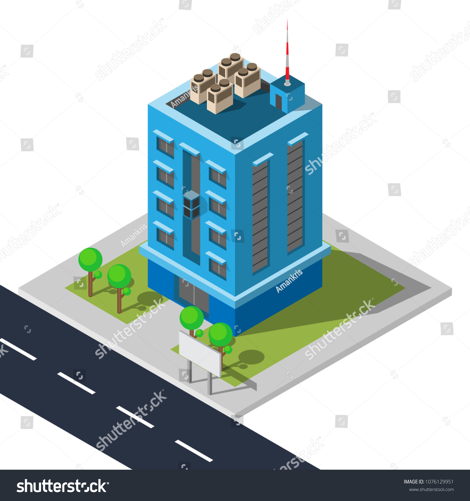 Office Building Road Flat Isometric Design Stock Vector Royalty